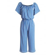 Lock and Love Womens Striped Off Shoulder Gaucho Jumpsuit - Pants - $34.21