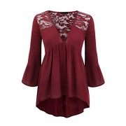 Lock and Love Womens V Neck 3/4 Sleeve Babydoll Lace Blouse top - Shirts - $31.36