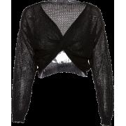 Long sleeve V-neck cropped navel short p - Long sleeves shirts - $25.99