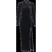 Long suede cheongsam dress unilateral split long sleeve high waist stand collar - Kleider - $25.99  ~ 22.32€