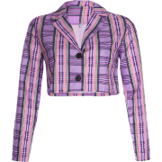 Loose Cardigan Top Purple Plaid Joker To - Bolero - $25.99