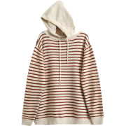 Loose Hooded Pinstrip Knit Sweater - Pullovers -
