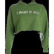 Loose hem drawstring hooded sweater lett - Long sleeves shirts - $25.99