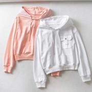Loose pocket drawstring hoodie coat top - Long sleeves t-shirts - $27.99