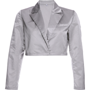 Loose slim satin suit jacket short - Pullovers - $27.99