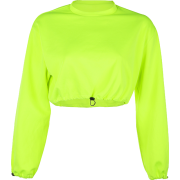 Loose solid color fluorescent green roun - Jacket - coats - $26.99