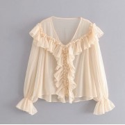 Loose wild wooden ear V-neck chiffon per - Shirts - $27.99