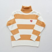 Love Embroidered Wide Striped Turtleneck - Pullovers - $29.99