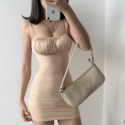 Low-cut pleated stitching slim bag hip strapless stretch solid color suspender d - Haljine - $19.99  ~ 17.17€