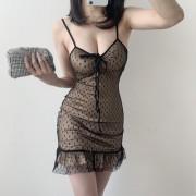 Low-cut polka dot ruffled lace-up drawst - Dresses - $19.99