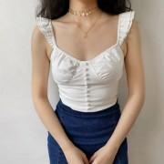 Low-cut sexy cute stretchy flying sleeves slim white camisole - Hemden - kurz - $30.99  ~ 26.62€