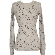 Lucky Stars Print Cotton Thermal Long Sleeve T-Shirt Junior Plus Size Heather-Grey - Long sleeves t-shirts - $17.99