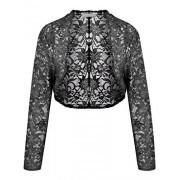 LuckyMore Women's 3/4 Sleeve Sheer Floral Lace Bolero Shrug Crop Jacket Cardigan - Jaquetas e casacos - $15.99  ~ 13.73€