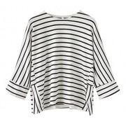 LuckyMore Women's Casual 3/4 Raglan Sleeve Round Neck Striped T-Shirt Tops - Top - $26.00