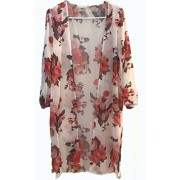 LuckyMore Women's Floral Print Boho Beach Wear Chiffon Cover Up Tops Kimono Cardigan - Pulôver - $9.99  ~ 8.58€