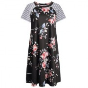 LuckyMore Women's Floral Print Casual Short Sleeve Swing Tunic Loose T-Shirt Dresses Knee Length - Dresses - $9.99
