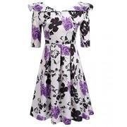 LuckyMore Womens Vintage 1950's 3/4 Sleeve Floral Print Pleated Swing Cocktail Party Dresses - Dresses - $15.99