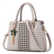 Luxury Designer Women Handbags Geometry Lattice Embroidery Leather Shoulder Bag With Star - Bag - $24.99