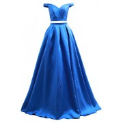 MACloth 2 Piece Off The Shoulder Long Prom Ball Gown Satin Formal Evening Dress - Dresses - $428.00