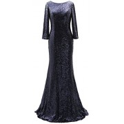 MACloth 3/4 Sleeves Sequin Long Mother Of The Bride Dress Elegant Evening Gown - Dresses - $328.00