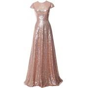 MACloth Elegant Cap Sleeves Sequin Long Bridesmaid Dress Simple Prom Gown - Dresses - $448.00