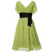 MACloth Elegant Short Sleeve Mother Of Bride Dress V Neck Cocktail Formal Gown - Dresses - $198.00