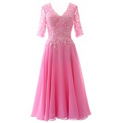 MACloth Elegant V Neck Mother Of The Bride Dress Lace Formal Party Evening Gown - Dresses - $398.00