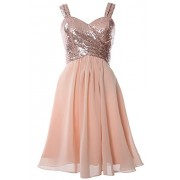 MACloth Gorgeous Sequin Short Bridesmaid Dress Cowl Back Cocktail Formal Gown - Dresses - $298.00