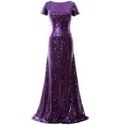 MACloth Mermaid Cap Sleeve Sequin Long Bridesmaid Dress Formal Evening Gown - Dresses - $199.00