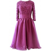 MACloth Women 3/4 Sleeve Lace Short Mother Of Bride Dress Formal Evening Gown - Dresses - $99.00