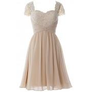 MACloth Women Cap Sleeve Cocktail Dress Short Lace Chiffon Mother Of Bride Dress - Dresses - $99.00