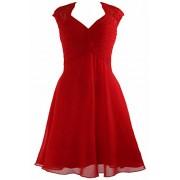 MACloth Women Cap Sleeve Lace Chiffon Cocktail Dress 2017 Short Bridesmaid Dress - Dresses - $299.00