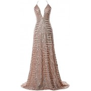 MACloth Women Deep V Neck Sequin Long Prom Dress Sexy Formal Party Evening Gown - Dresses - $388.00