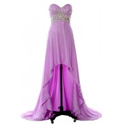 MACloth Women Hi Lo Crystal Long Prom Homecoming Dress Formal Evening Party Gown - Dresses - $348.00