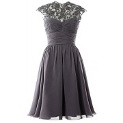 MACloth Women High Neck Cap Sleeve Lace Short Bridesmaid Dress Wedding Party Ball Gown - Dresses - $189.00