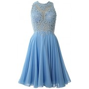 MACloth Women High Neck Lace Cocktail Dress Short Prom Homecoming Formal Gown - Dresses - $298.00