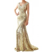 MACloth Women Mermaid Sequin Long Prom Dress Formal Evening Wedding Party Gown - Dresses - $259.00