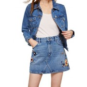 MANGO Women's Floral Embroidery Denim Skirt - Saias - $59.99  ~ 51.52€