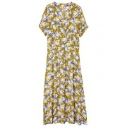 MANGO Women's Floral Wrap Neckline Dress, Khaki, 6 - Dresses -