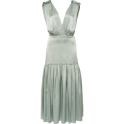 MARYSIA green satin dress - Obleke -