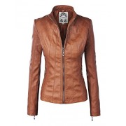 MBJ WJC877 Womens Panelled Faux Leather Moto Jacket M Camel - Outerwear - $56.84