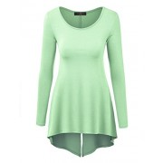 MBJ Womens Round Neck Long Sleeve Tunic with Back Slit - Made in USA - Shirts - $25.64