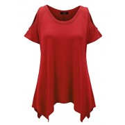 MBJ Womens Round Neck Short Sleeve Open Shoulder Top - Made In USA - Shirts - $22.79