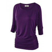 MBJ Womens 3/4 Sleeve Drape Top with Side Shirring - Made in USA - Shirts - $21.36