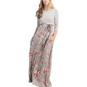 MEROKEETY Women's Striped Floral Print 3/4 Sleeve Tie Waist Maxi Dress with Pockets - Dresses - $23.99