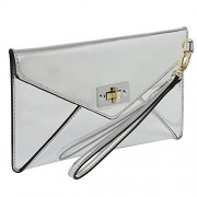 MG Collection Modern Mirror Silver Wristlet Clutch / Envelope Wallet Purse - Hand bag - $24.99