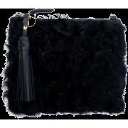 MICKEY BLACK SHAGGY CLUTCH - Clutch bags -
