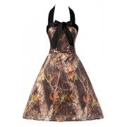 MILANO BRIDE Cheap Homecoming Dress Camo Wedding Party Dress Short Halter Bow-4-Camo&Black - Dresses - $26.69
