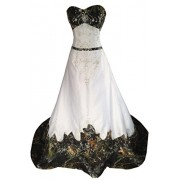 MILANO BRIDE Inexpensive Camo Wedding Dress Prom Gown Strapless Embroidery - Dresses - $209.69