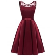 MILANO BRIDE Women's Cocktail Party Dress, Vintage Floral Lace Jewel Sleeveless Burgundy Formal Swing Dresses - Dresses - $46.99